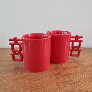 Set of Two Red Coffee/Tea Mugs Asian Inspired